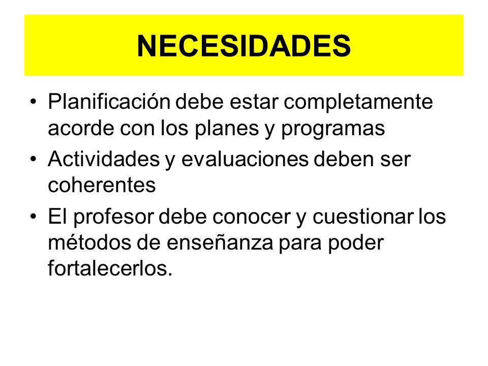 NECESIDADES Planificación debe estar completamente acorde con los planes y programas Actividades y evaluaciones deben ser coherentes El profesor debe