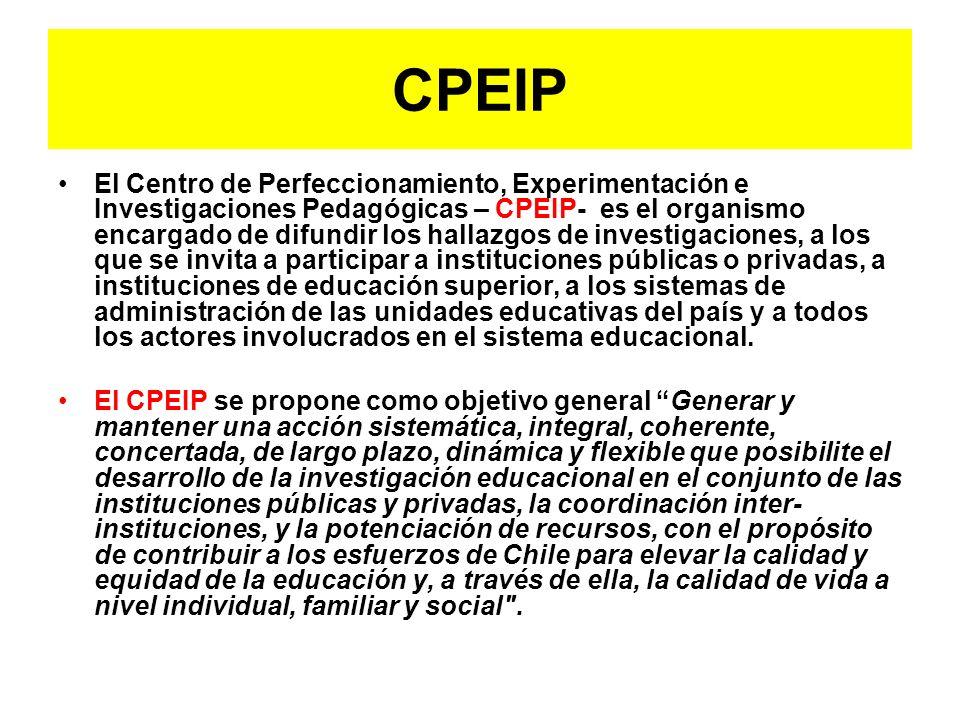 CPEIP El Centro de Perfeccionamiento, Experimentación e Investigaciones Pedagógicas – CPEIP- es el organismo encargado de difundir los hallazgos de in