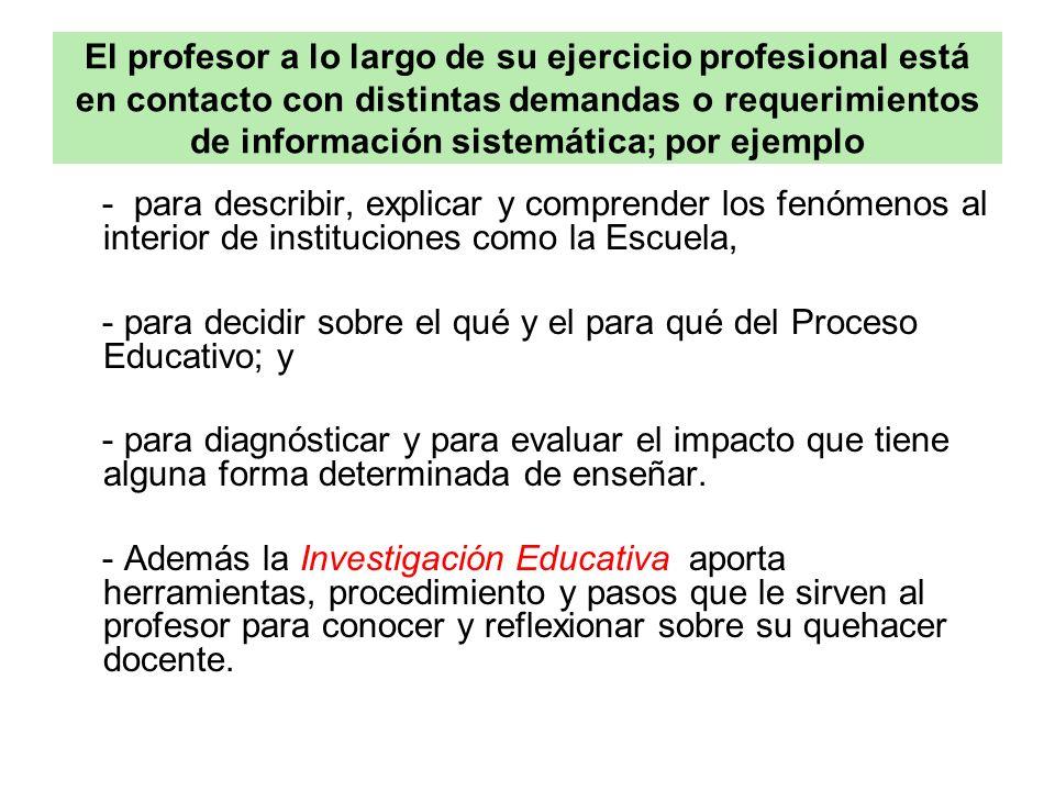 El profesor a lo largo de su ejercicio profesional está en contacto con distintas demandas o requerimientos de información sistemática; por ejemplo -