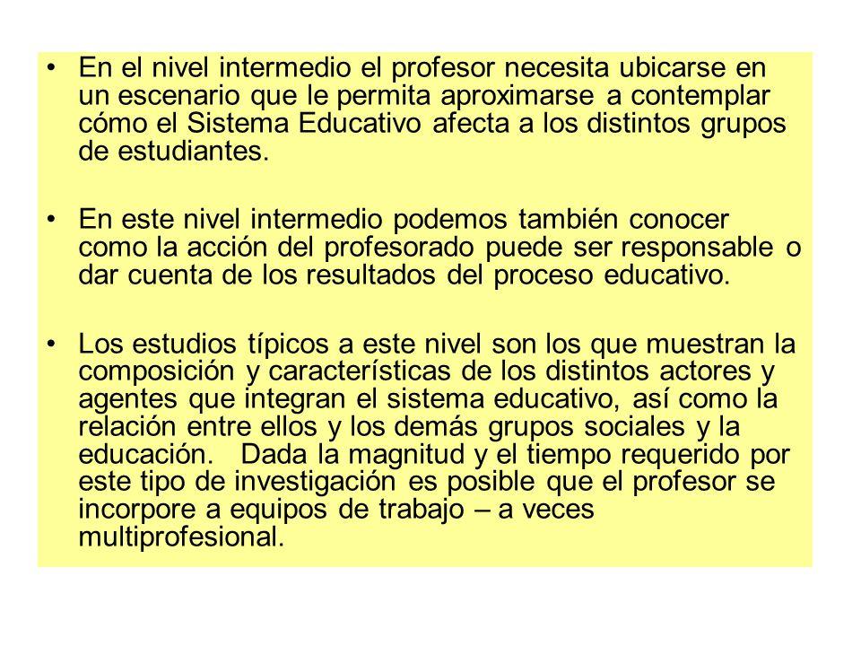 En el nivel intermedio el profesor necesita ubicarse en un escenario que le permita aproximarse a contemplar cómo el Sistema Educativo afecta a los di