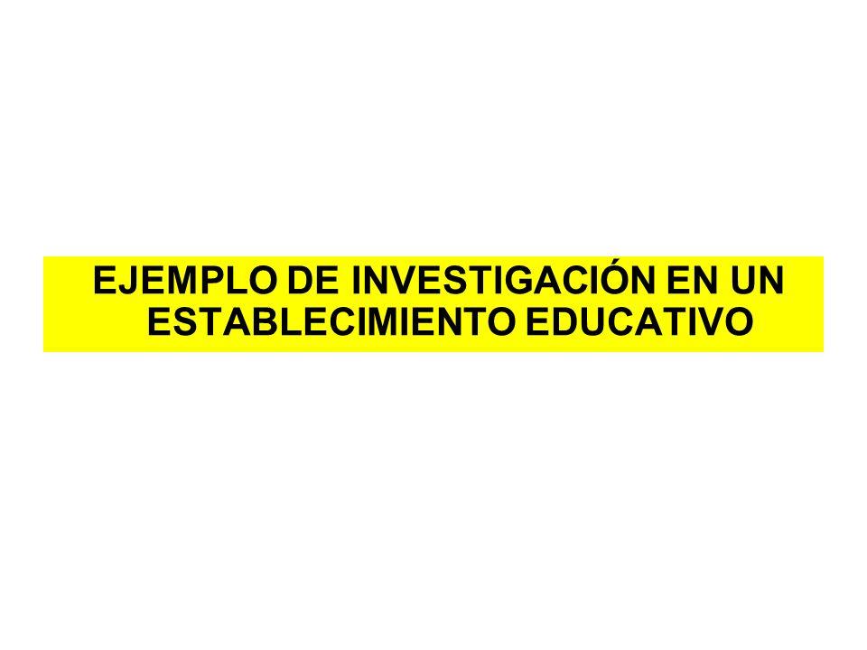 EJEMPLO DE INVESTIGACIÓN EN UN ESTABLECIMIENTO EDUCATIVO