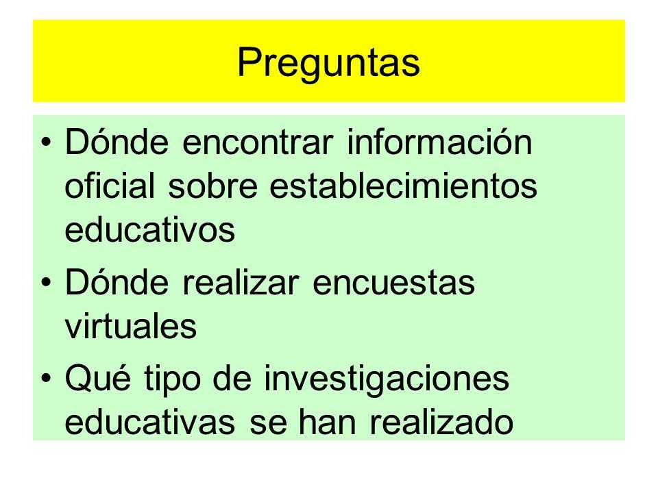 Preguntas Dónde encontrar información oficial sobre establecimientos educativos Dónde realizar encuestas virtuales Qué tipo de investigaciones educati
