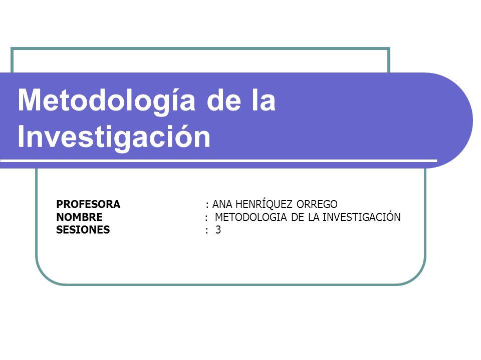 PROFESORA : ANA HENRÍQUEZ ORREGO NOMBRE : METODOLOGIA DE LA INVESTIGACIÓN SESIONES : 3 Metodología de la Investigación