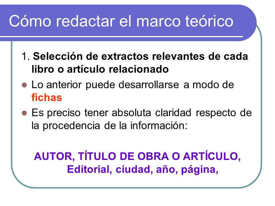 Cómo redactar el marco teórico 1. Selección de extractos relevantes de cada libro o artículo relacionado Lo anterior puede desarrollarse a modo de fic