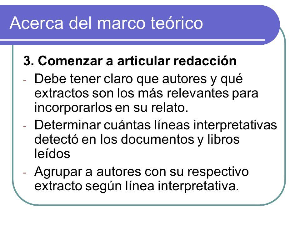 Acerca del marco teórico 3. Comenzar a articular redacción - Debe tener claro que autores y qué extractos son los más relevantes para incorporarlos en