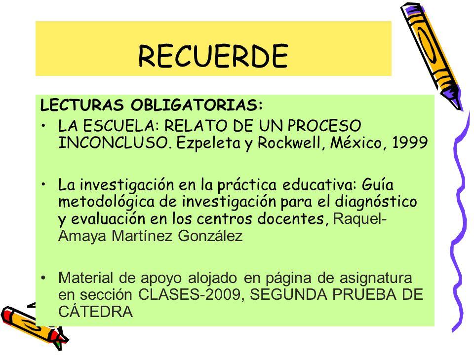 RECUERDE LECTURAS OBLIGATORIAS: LA ESCUELA: RELATO DE UN PROCESO INCONCLUSO. Ezpeleta y Rockwell, México, 1999 La investigación en la práctica educati