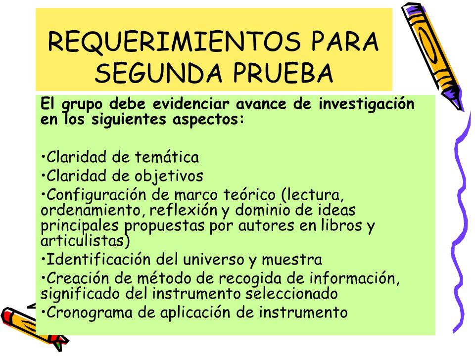 REQUERIMIENTOS PARA SEGUNDA PRUEBA El grupo debe evidenciar avance de investigación en los siguientes aspectos: Claridad de temática Claridad de objet
