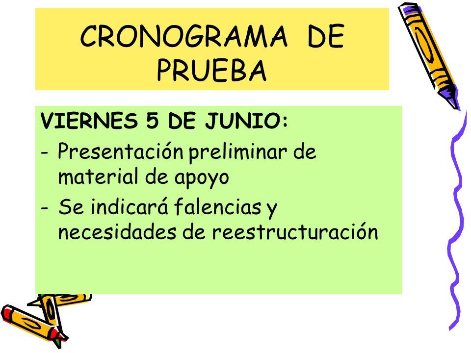 CRONOGRAMA DE PRUEBA VIERNES 5 DE JUNIO: -Presentación preliminar de material de apoyo -Se indicará falencias y necesidades de reestructuración