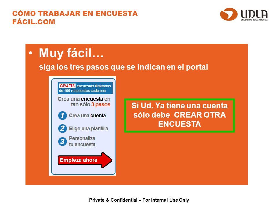 Private & Confidential – For Internal Use Only CÓMO TRABAJAR EN ENCUESTA FÁCIL.COM Muy fácil… siga los tres pasos que se indican en el portal Si Ud.