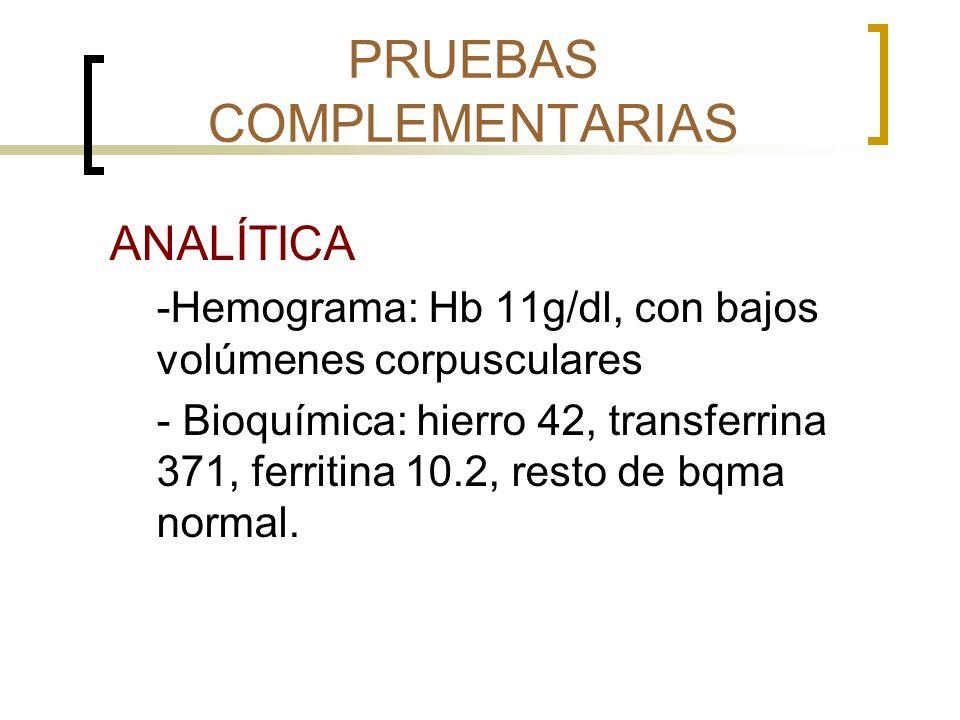 PRUEBAS COMPLEMENTARIAS ANALÍTICA -Hemograma: Hb 11g/dl, con bajos volúmenes corpusculares - Bioquímica: hierro 42, transferrina 371, ferritina 10.2,