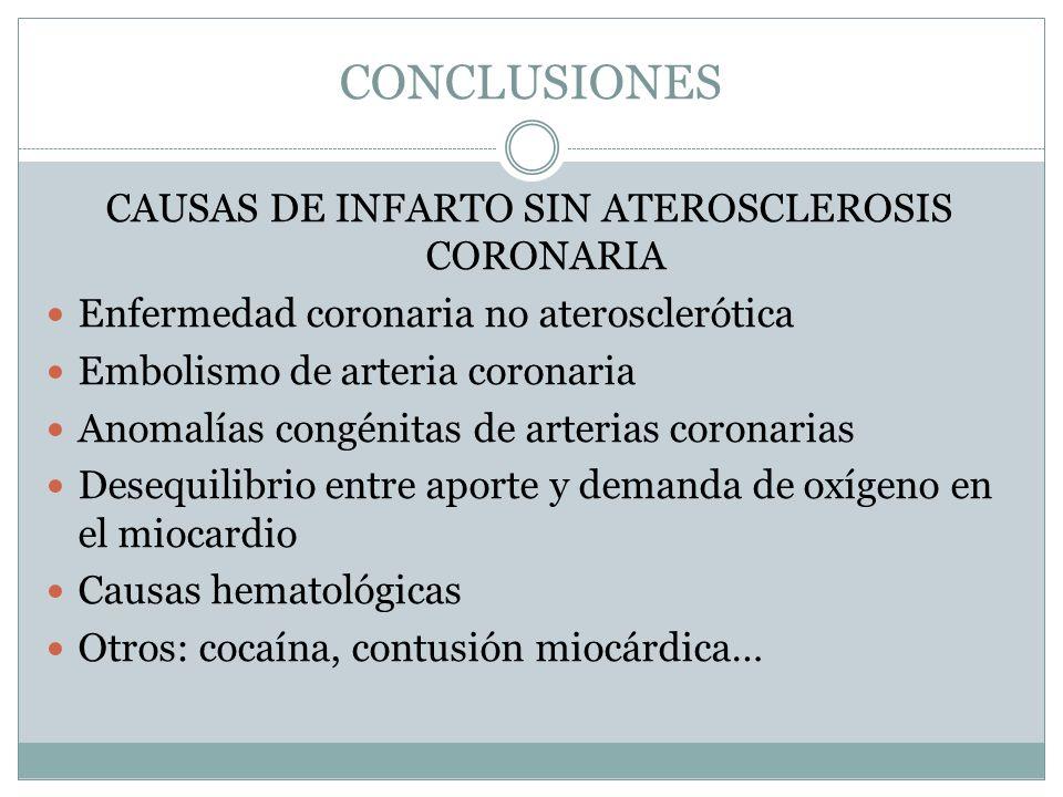 CONCLUSIONES CAUSAS DE INFARTO SIN ATEROSCLEROSIS CORONARIA Enfermedad coronaria no aterosclerótica Embolismo de arteria coronaria Anomalías congénita