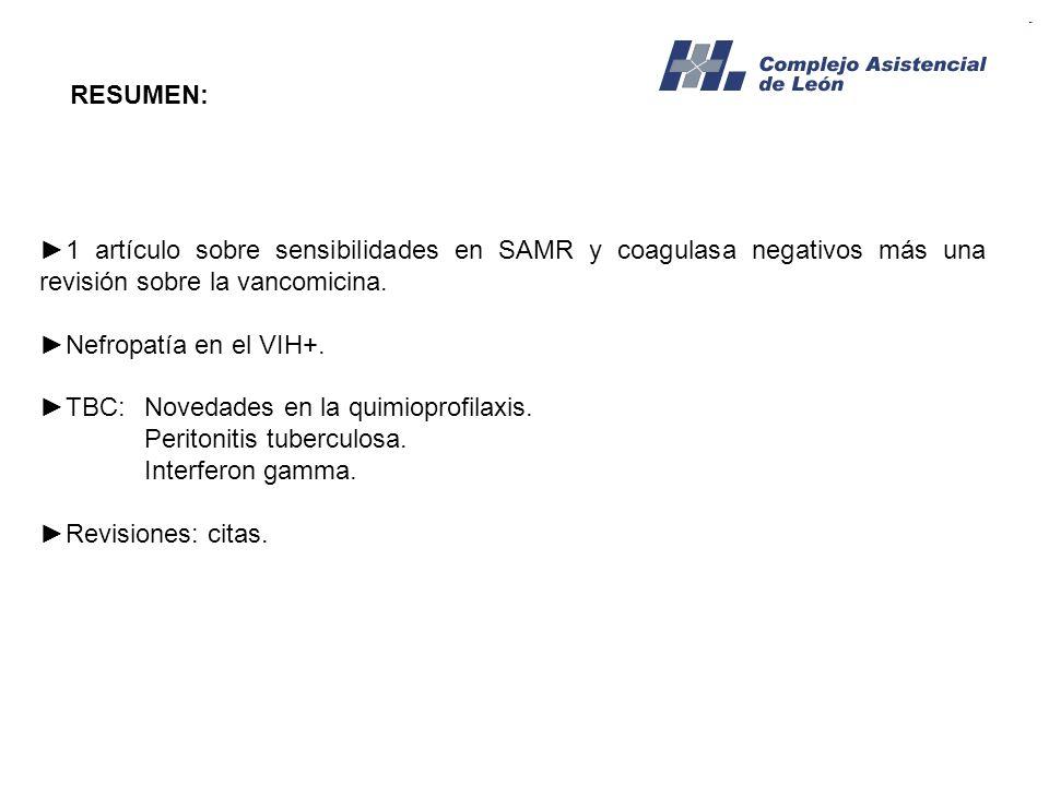 RESUMEN: 1 artículo sobre sensibilidades en SAMR y coagulasa negativos más una revisión sobre la vancomicina. Nefropatía en el VIH+. TBC:Novedades en