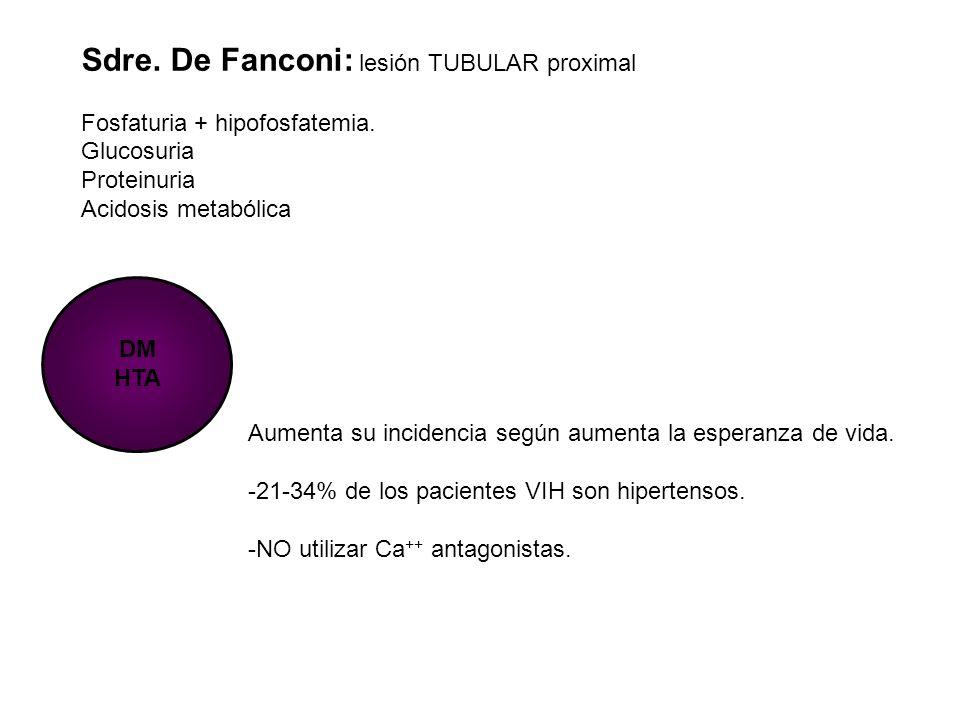 Sdre. De Fanconi: lesión TUBULAR proximal Fosfaturia + hipofosfatemia. Glucosuria Proteinuria Acidosis metabólica DM HTA Aumenta su incidencia según a