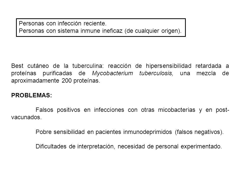 Personas con infección reciente. Personas con sistema inmune ineficaz (de cualquier origen). Best cutáneo de la tuberculina: reacción de hipersensibil