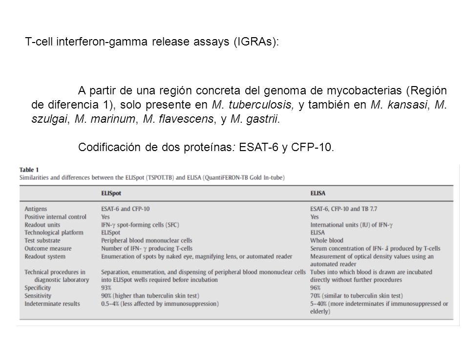 T-cell interferon-gamma release assays (IGRAs): A partir de una región concreta del genoma de mycobacterias (Región de diferencia 1), solo presente en