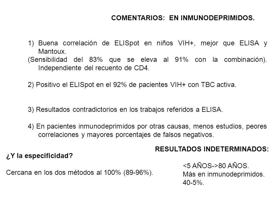 COMENTARIOS: EN INMUNODEPRIMIDOS. 1)Buena correlación de ELISpot en niños VIH+, mejor que ELISA y Mantoux. (Sensibilidad del 83% que se eleva al 91% c