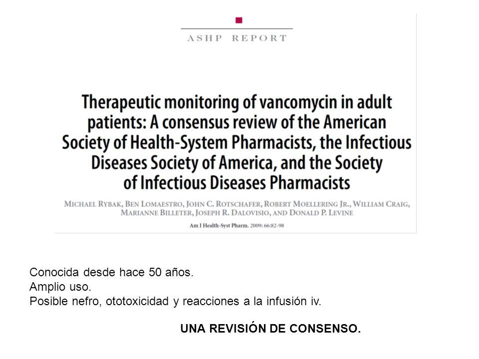 Conocida desde hace 50 años. Amplio uso. Posible nefro, ototoxicidad y reacciones a la infusión iv. UNA REVISIÓN DE CONSENSO.