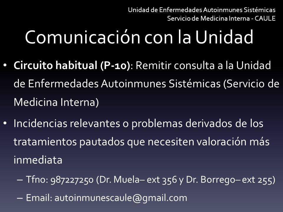Comunicación con la Unidad Circuito habitual (P-10): Remitir consulta a la Unidad de Enfermedades Autoinmunes Sistémicas (Servicio de Medicina Interna
