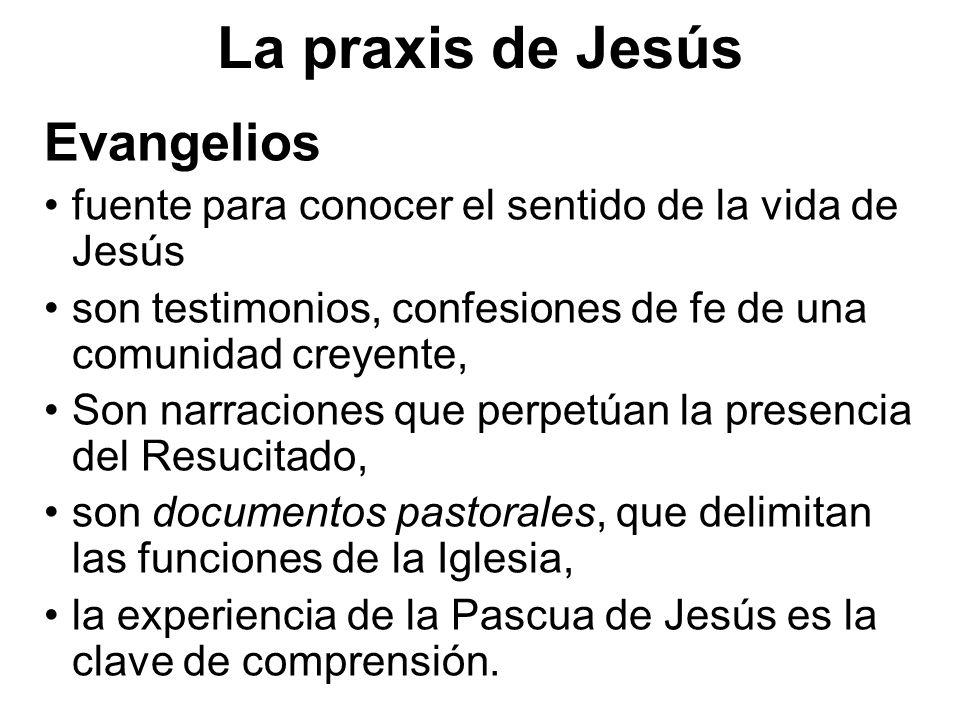 La praxis de Jesús Evangelios fuente para conocer el sentido de la vida de Jesús son testimonios, confesiones de fe de una comunidad creyente, Son nar
