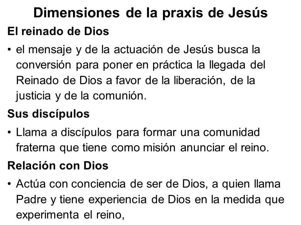 Dimensiones de la praxis de Jesús El reinado de Dios el mensaje y de la actuación de Jesús busca la conversión para poner en práctica la llegada del R