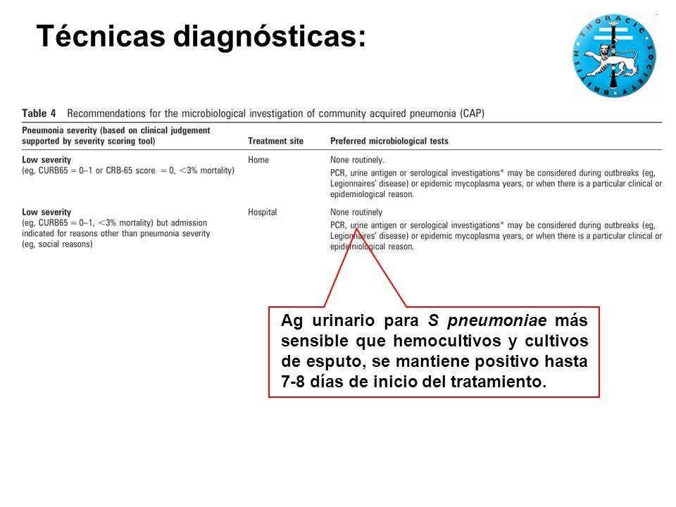 Técnicas diagnósticas: Ag urinario para S pneumoniae más sensible que hemocultivos y cultivos de esputo, se mantiene positivo hasta 7-8 días de inicio del tratamiento.
