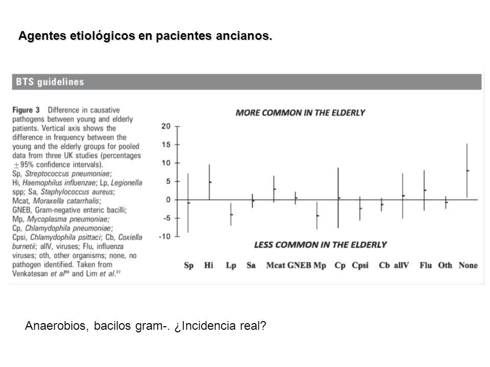 Agentes etiológicos en pacientes ancianos. Anaerobios, bacilos gram-. ¿Incidencia real?