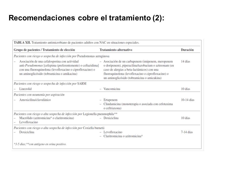 Recomendaciones cobre el tratamiento (2):