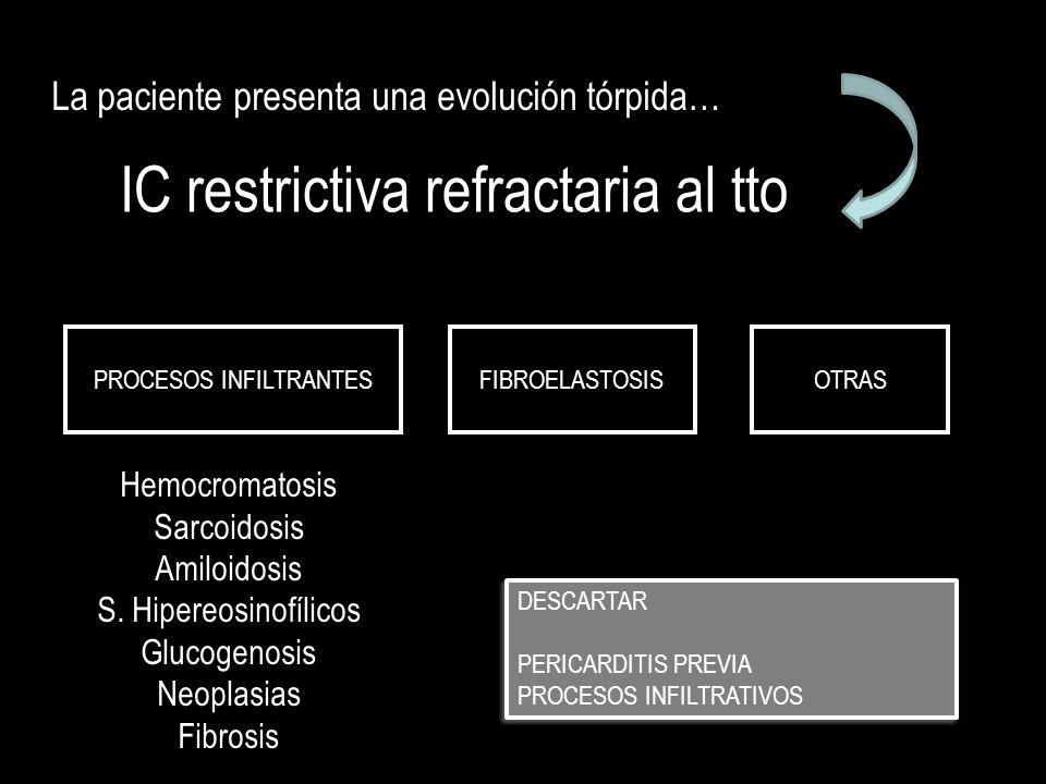 IC restrictiva refractaria al tto La paciente presenta una evolución tórpida… DESCARTAR PERICARDITIS PREVIA PROCESOS INFILTRATIVOS DESCARTAR PERICARDI