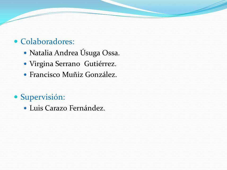 Colaboradores: Natalia Andrea Úsuga Ossa. Virgina Serrano Gutiérrez. Francisco Muñiz González. Supervisión: Luis Carazo Fernández.