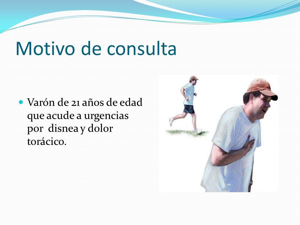 Motivo de consulta Varón de 21 años de edad que acude a urgencias por disnea y dolor torácico.