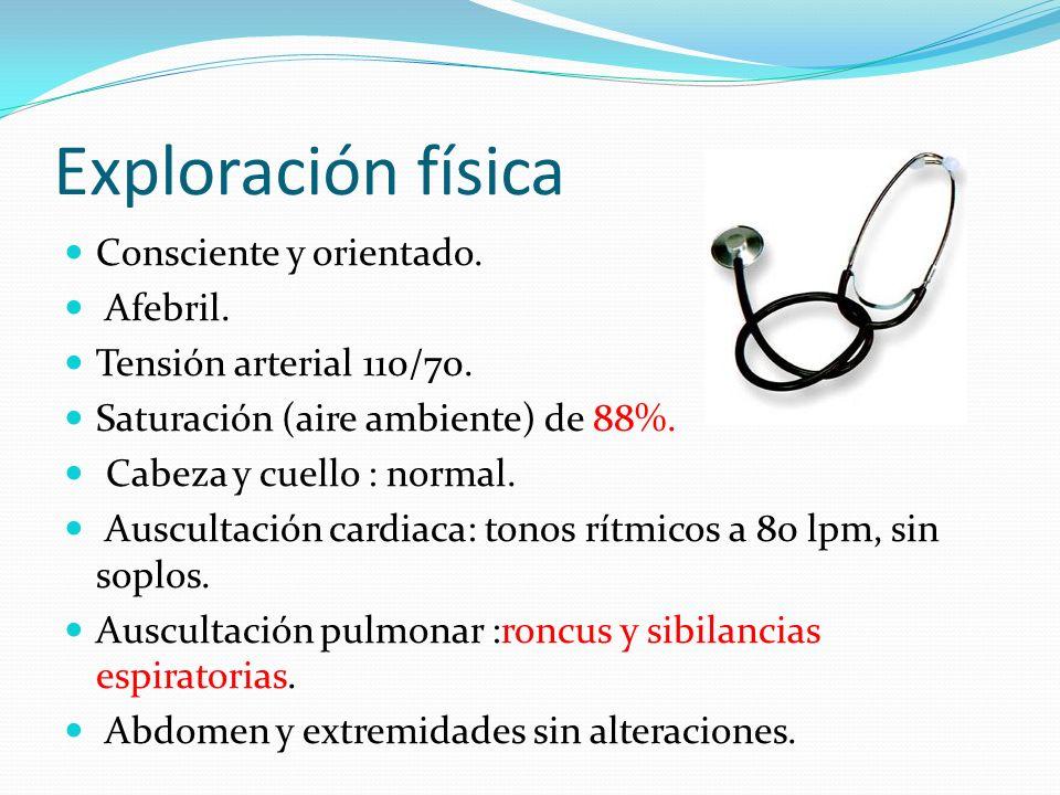 Exploración física Consciente y orientado. Afebril. Tensión arterial 110/70. Saturación (aire ambiente) de 88%. Cabeza y cuello : normal. Auscultación