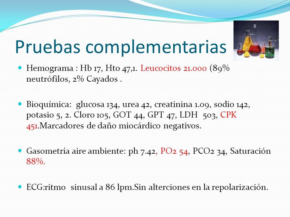 Pruebas complementarias Hemograma : Hb 17, Hto 47,1. Leucocitos 21.000 (89% neutrófilos, 2% Cayados. Bioquímica: glucosa 134, urea 42, creatinina 1.09