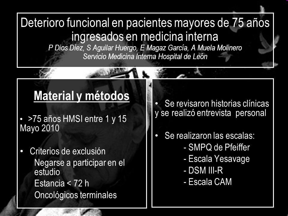 Deterioro funcional en pacientes mayores de 75 años ingresados en medicina interna P Dios Díez, S Aguilar Huergo, E Magaz García, A Muela Molinero Ser