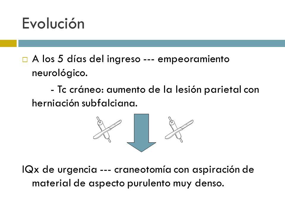 Evolución A los 5 días del ingreso --- empeoramiento neurológico. - Tc cráneo: aumento de la lesión parietal con herniación subfalciana. IQx de urgenc