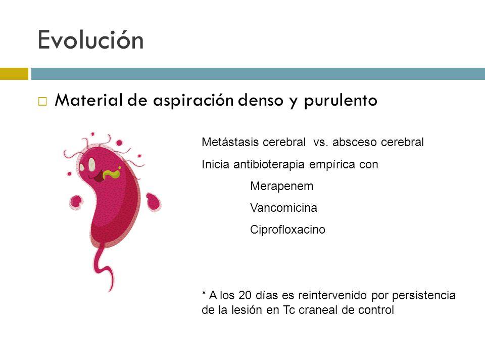 Evolución Material de aspiración denso y purulento Metástasis cerebral vs. absceso cerebral Inicia antibioterapia empírica con Merapenem Vancomicina C