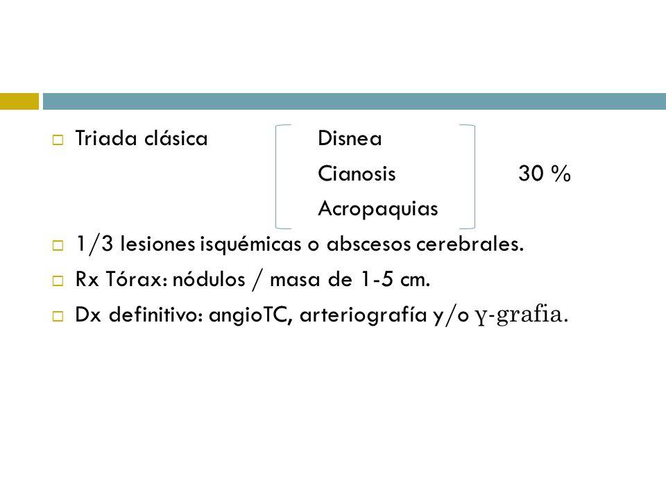 Triada clásicaDisnea Cianosis30 % Acropaquias 1/3 lesiones isquémicas o abscesos cerebrales. Rx Tórax: nódulos / masa de 1-5 cm. Dx definitivo: angioT