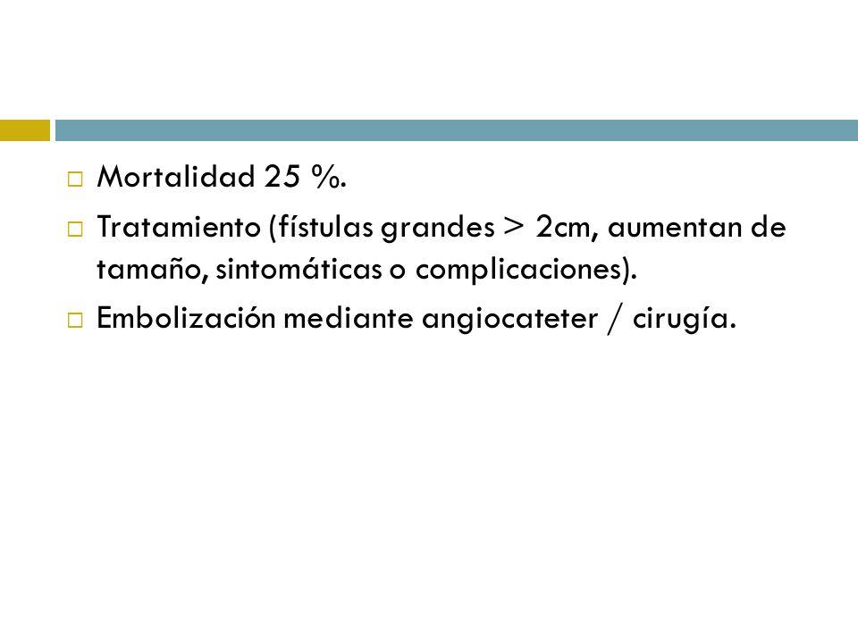 Mortalidad 25 %. Tratamiento (fístulas grandes > 2cm, aumentan de tamaño, sintomáticas o complicaciones). Embolización mediante angiocateter / cirugía
