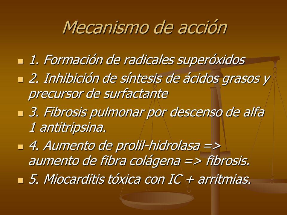 Mecanismo de acción 1. Formación de radicales superóxidos 1. Formación de radicales superóxidos 2. Inhibición de síntesis de ácidos grasos y precursor