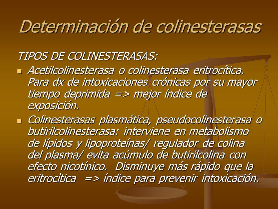 Determinación de colinesterasas TIPOS DE COLINESTERASAS: Acetilcolinesterasa o colinesterasa eritrocítica. Para dx de intoxicaciones crónicas por su m