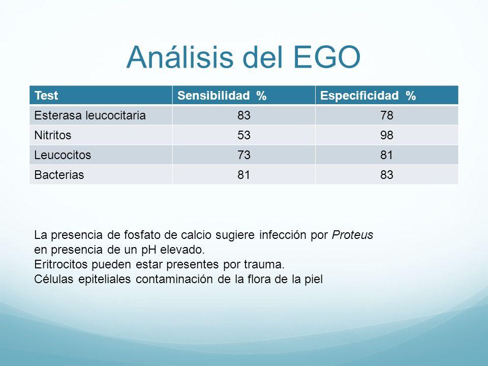 Análisis del EGO TestSensibilidad %Especificidad % Esterasa leucocitaria8378 Nitritos5398 Leucocitos7381 Bacterias8183 La presencia de fosfato de calc
