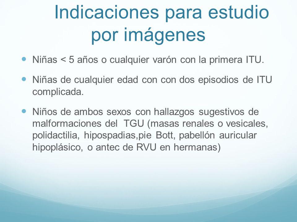 Indicaciones para estudio por imágenes Niñas < 5 años o cualquier varón con la primera ITU. Niñas de cualquier edad con con dos episodios de ITU compl