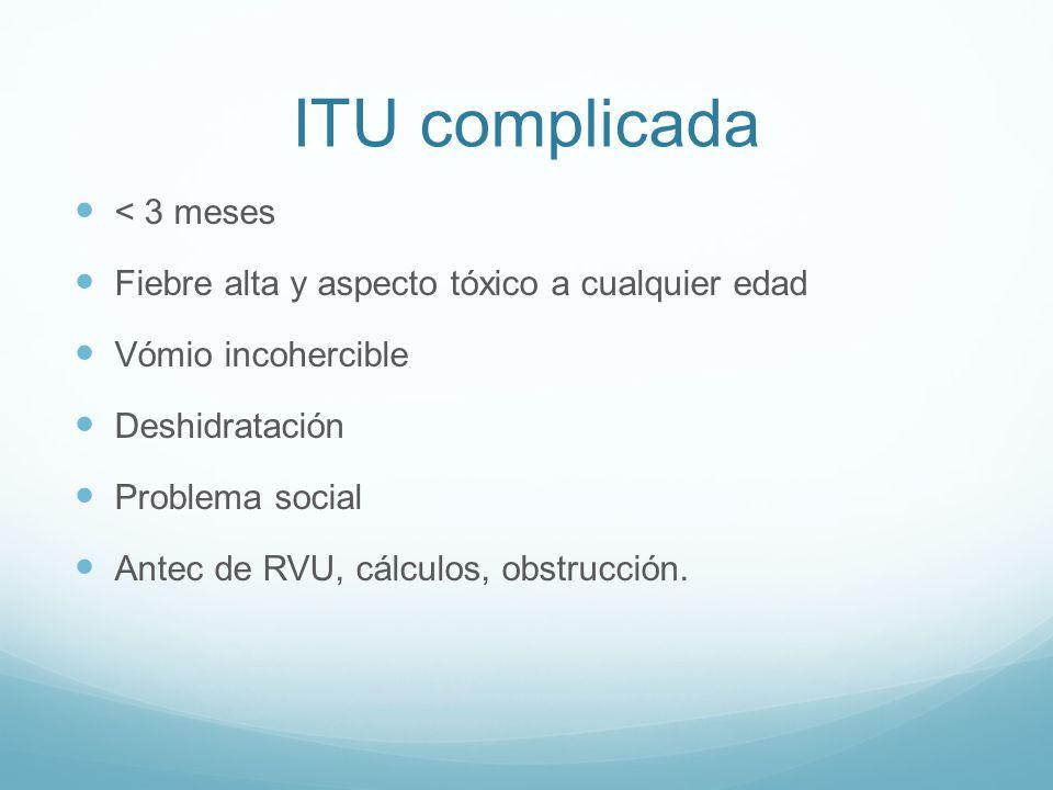 ITU complicada < 3 meses Fiebre alta y aspecto tóxico a cualquier edad Vómio incohercible Deshidratación Problema social Antec de RVU, cálculos, obstr