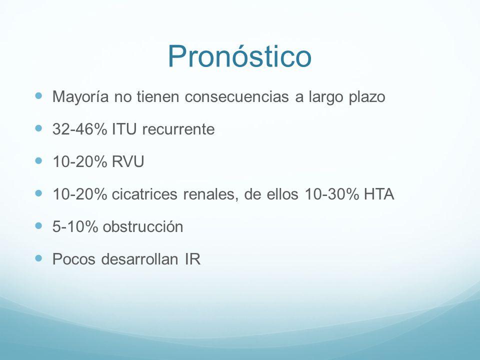 Pronóstico Mayoría no tienen consecuencias a largo plazo 32-46% ITU recurrente 10-20% RVU 10-20% cicatrices renales, de ellos 10-30% HTA 5-10% obstruc