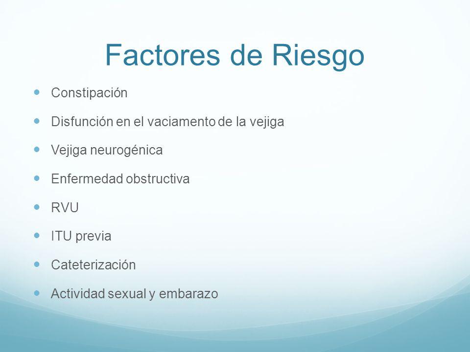 Factores de Riesgo Constipación Disfunción en el vaciamento de la vejiga Vejiga neurogénica Enfermedad obstructiva RVU ITU previa Cateterización Activ