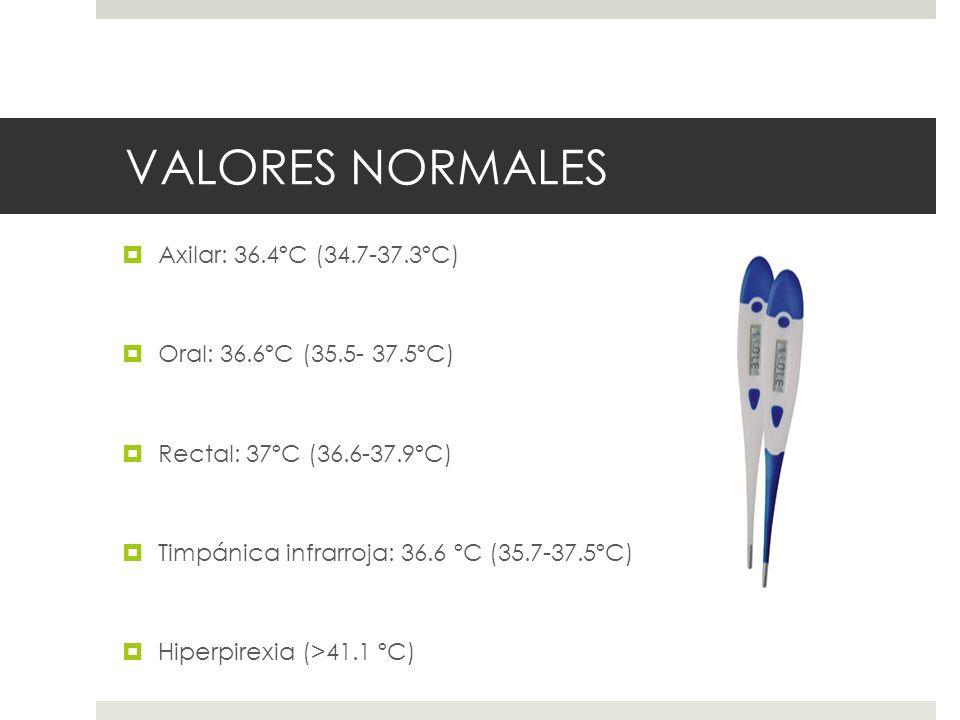 VALORES NORMALES Axilar: 36.4ºC (34.7-37.3ºC) Oral: 36.6ºC (35.5- 37.5ºC) Rectal: 37ºC (36.6-37.9ºC) Timpánica infrarroja: 36.6 ºC (35.7-37.5ºC) Hiper