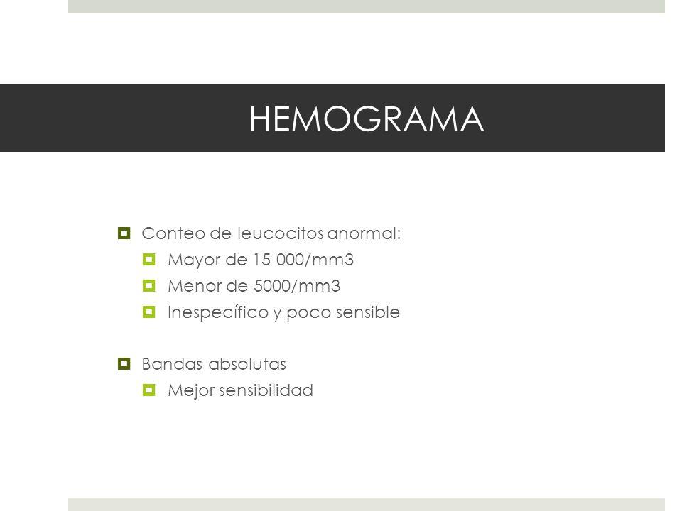 HEMOGRAMA Conteo de leucocitos anormal: Mayor de 15 000/mm3 Menor de 5000/mm3 Inespecífico y poco sensible Bandas absolutas Mejor sensibilidad