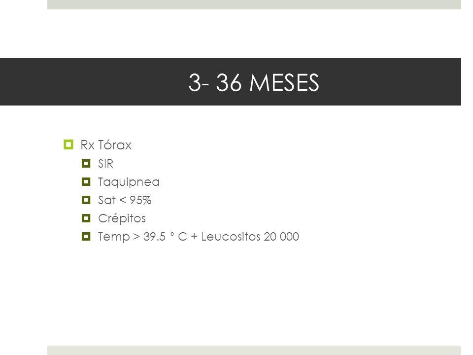 3- 36 MESES Rx Tórax SIR Taquipnea Sat < 95% Crépitos Temp > 39.5 ° C + Leucositos 20 000
