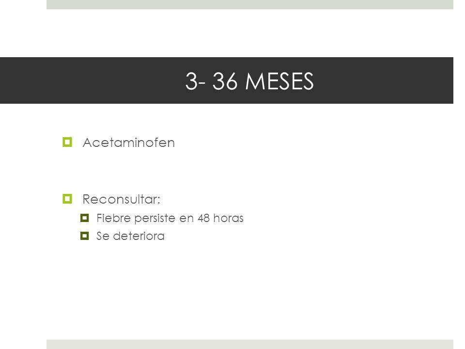 3- 36 MESES Acetaminofen Reconsultar: Fiebre persiste en 48 horas Se deteriora