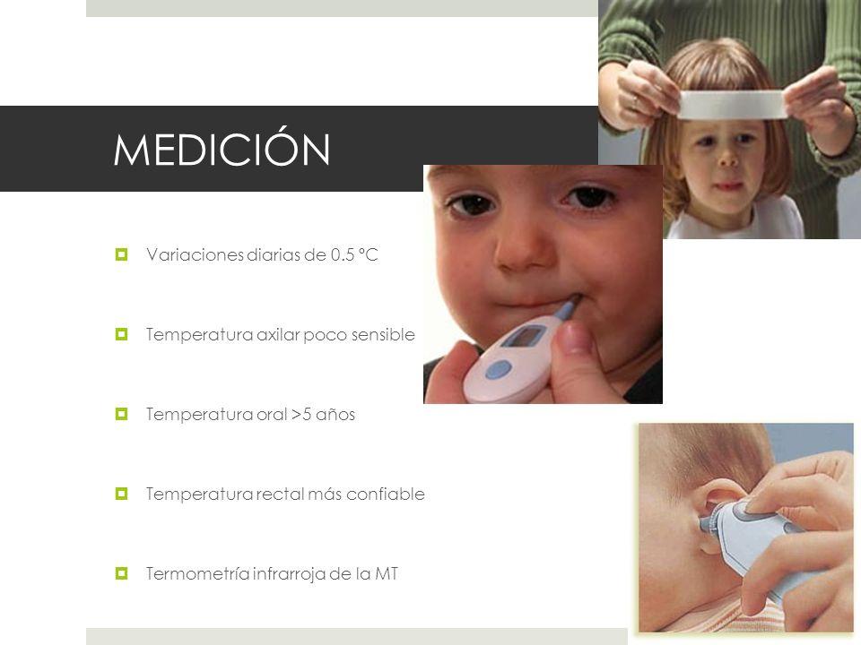 MEDICIÓN Variaciones diarias de 0.5 ºC Temperatura axilar poco sensible Temperatura oral >5 años Temperatura rectal más confiable Termometría infrarro