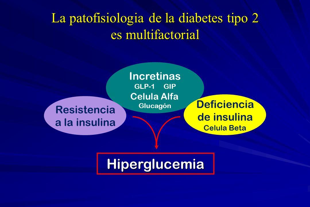 La patofisiologia de la diabetes tipo 2 es multifactorial Incretinas GLP-1 GIP Celula Alfa Glucagón Deficiencia de insulina Celula Beta Resistencia a